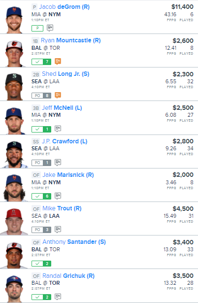 DFS - MLB - FanDuel - MLB Lineup - Early Only - 8/31/2020